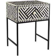 Noire Bone Inlay Side Table - High Fashion Home