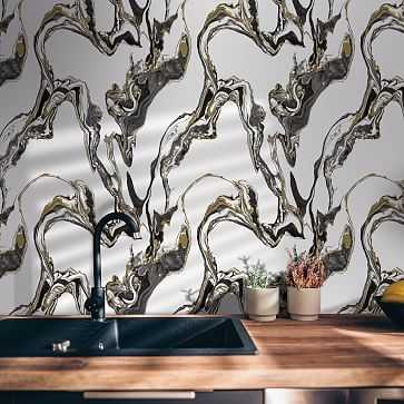 Peel & Stick Marble Wall Paper, Onyx - West Elm