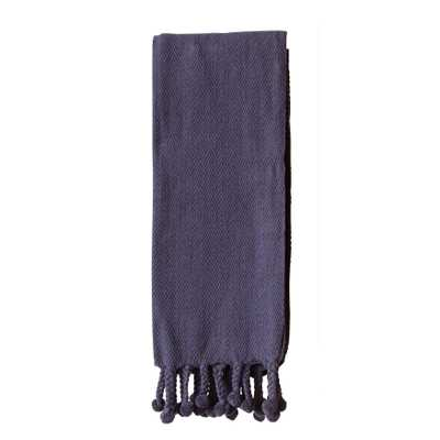 Navy Cotton Throw with Pom Poms - Nomad Home
