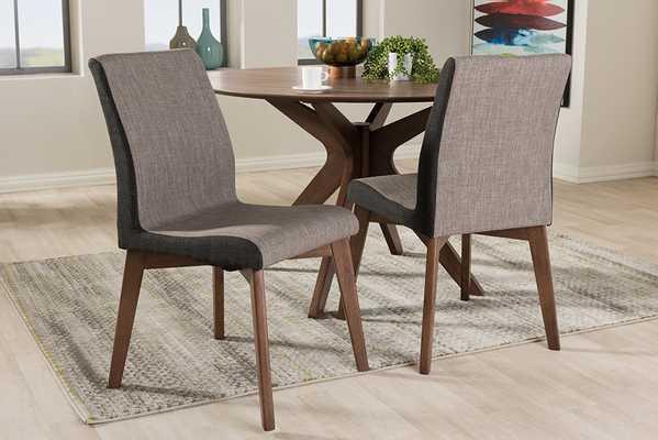 Baxton Studio Kimberly Mid-Century Modern Beige and Brown Fabric Dining Chair (Set of 2) - Lark Interiors
