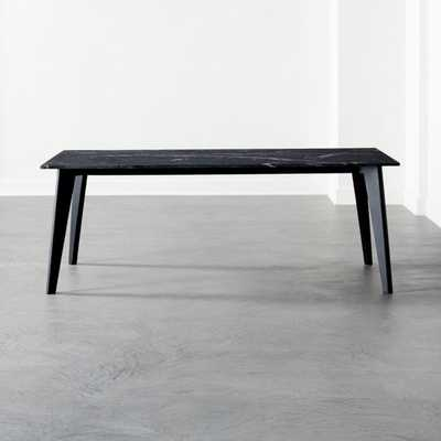 Harper Black Dining Table with Black Marble Top - CB2