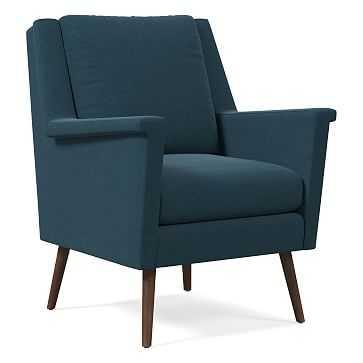 Carlo Mid-Century Chair, Poly, Performance Velvet, Lagoon, Pecan - West Elm