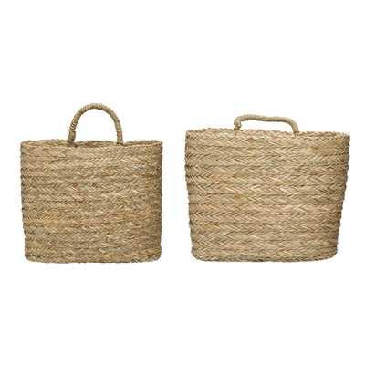 3R Studios Seagrass Handwoven Decorative Wall Baskets (Set of 2), Beige - Home Depot