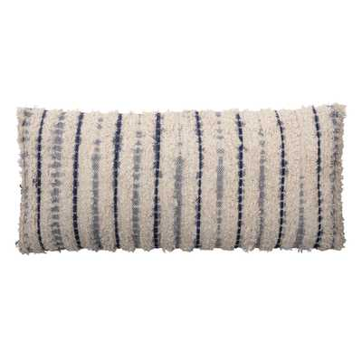 """36""""L Textured Cotton Woven Lumbar Pillow with Tie-Dyed Stripes - Moss & Wilder"""