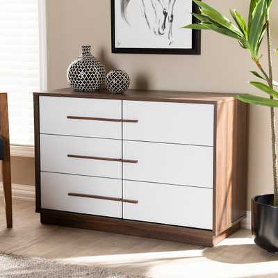 Baxton Studio Mette White and Walnut 6-Drawer Wood Dresser - Style # 74N57 - Lamps Plus