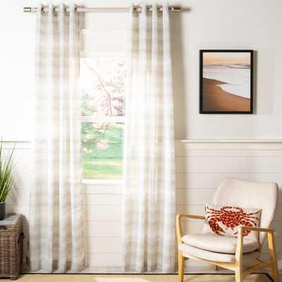 Safavieh Liberty 52 in. W x 96 in. L Semi-Sheer Window Panel in Light Gray/White - Home Depot