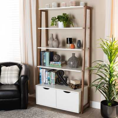 Baxton Studio Senja Modern and Contemporary Two-Tone White and Ash Walnut Brown Finished Wood 2-Door Ladder Bookshelf - Lark Interiors