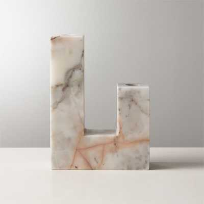 Decks Holds 2 Red Marble Taper Candle Holder - CB2