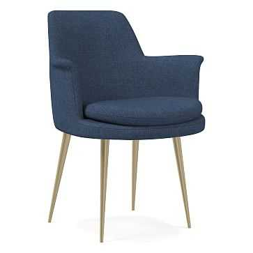 Finley Wing Dining Chair, Performance Yarn Dyed Linen Weave, French Blue, Light Bronze - West Elm
