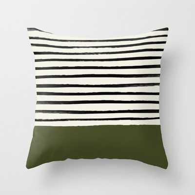 "Olive Green X Stripes Couch Throw Pillow by Leah Flores - Cover (24"" x 24"") with pillow insert - Indoor Pillow - Society6"