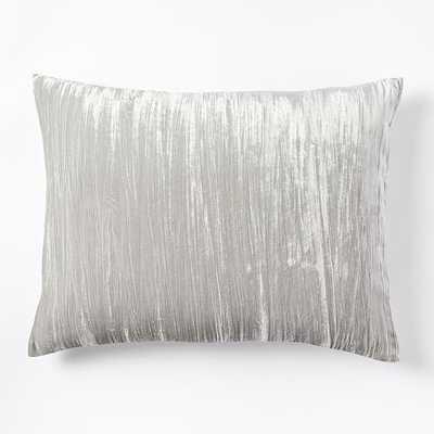 Lush Crinkle Velvet Standard Sham, Platinum, Set Of 2 - West Elm