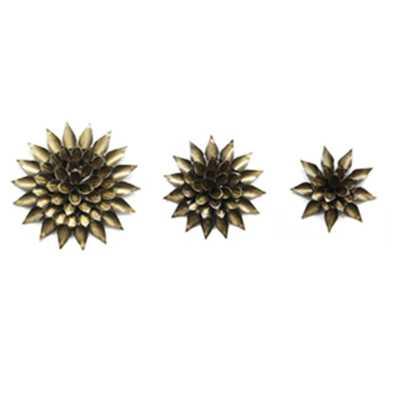 StyleCraft Decorative Floral Metal Aged Gold Wall Art (3-Pack) - Home Depot