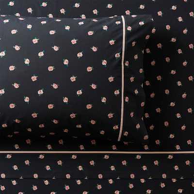 Emily & Meritt Ditsy Floral Organic Sheet Set, Queen, Black Multi - Pottery Barn Teen