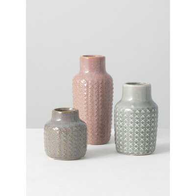 3 Piece Pamila Pink/Gray Ceramic Table Vase Set - Wayfair