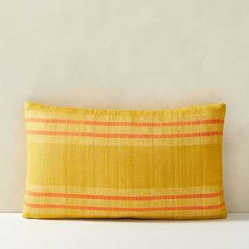 "Silk Stripes Pillow Cover, 12""x21"", Dark Horseradish - West Elm"