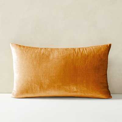 "Lush Velvet Pillow Cover, Golden Oak, 12""x21"" - West Elm"