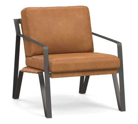 Owen Leather Armchair, Polyester Wrapped Cushions, Churchfield Camel - Pottery Barn