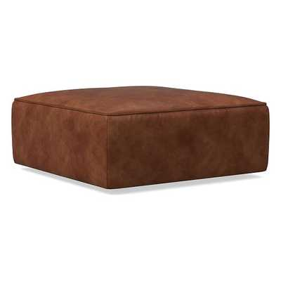 Remi Ottoman, Memory Foam, Weston Leather, Molasses, Concealed Support - West Elm