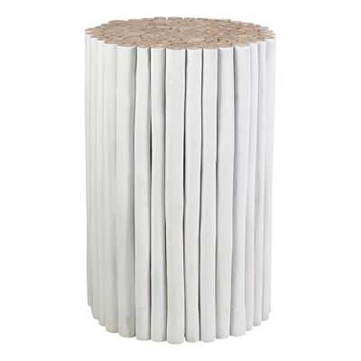 East At Main Serenity Teak Round Stool, White - Home Depot