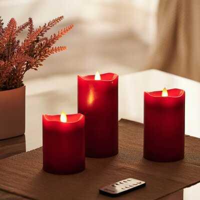 3 Piece Dancing Unscented Pillar Candle Set - Wayfair