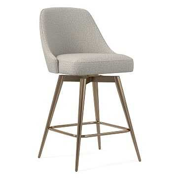 Mid-Century Upholstered Swivel Counter Stool, Twill, Stone, Oil Rubbed Bronze - West Elm