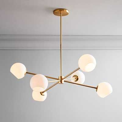 Staggered Glass Burst Chandelier With Light Bulb, Milk & Antique Brass - West Elm
