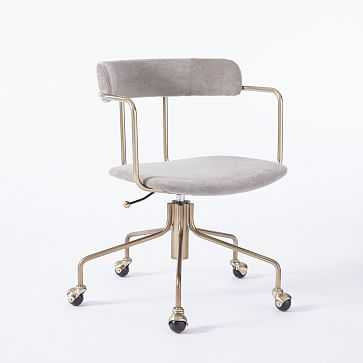 Lennox Office Chair, Worn Velvet, Metal - West Elm