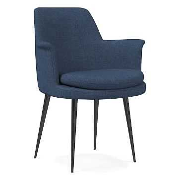 Finley Wing Dining Chair, Performance Yarn Dyed Linen Weave, French Blue, Gunmetal - West Elm
