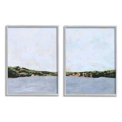 Lake Shore Landscape with Soft Blue Sky by Victoria Borges - 2 Piece Painting Print Set - Wayfair