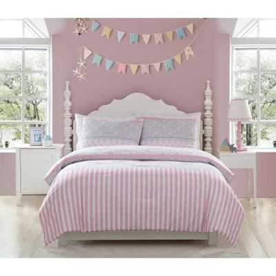 Kute Kids 2-Piece Ellie Stripped Twin Comforter Set, Pink And Grey - Home Depot