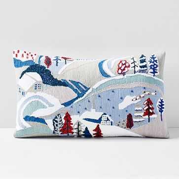 "Embellished Holiday Landscape Pillow Cover, 12""x21"", Multi - West Elm"