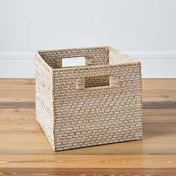 Set of 2 Modern Weave Collection, Storage Bin, Whitewash - West Elm
