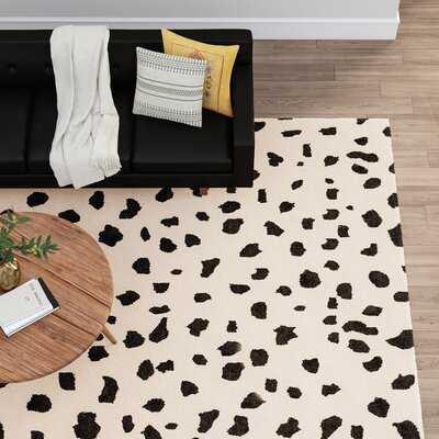 Miya Tufted Wool Animal Print Hand-Tufted Wool Beige/Black Area Rug - AllModern