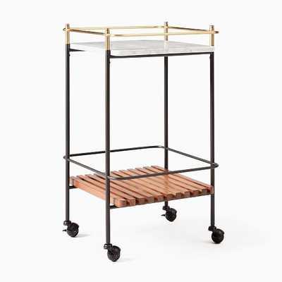 Eclipse Bar Cart, Cool Walnut, White Marble, Antique Brass - West Elm