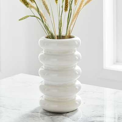 Stepped Form Ceramic Round Stacked, Transculent White - West Elm