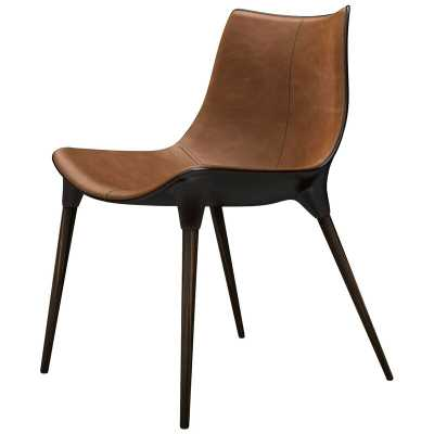 Modloft Black Langham Upholstered Dining Chair Upholstery Color: Caramel Leather on Cathedral Ebony - Perigold
