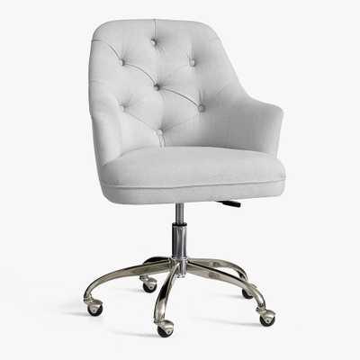 Tufted Desk Chair, Light Gray - Pottery Barn Teen