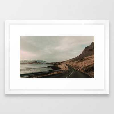 Iceland Road Landscape Framed Art Print by Leah Flores - Vector White - SMALL-15x21 - Society6