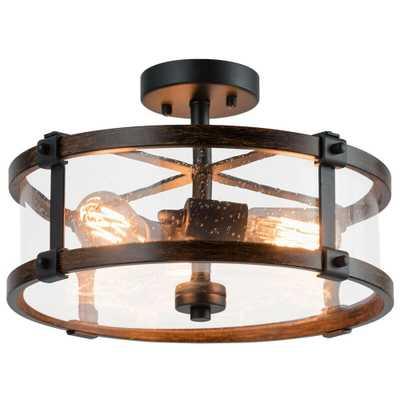 CASAINC 15.5 in. 3-Light Black Flush Mount Chandelier with Glass Shade - Home Depot