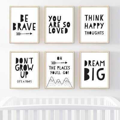 Dedrik Inspirational, Be Brave, Dream Big 6-Piece Set Paper Print - Wayfair