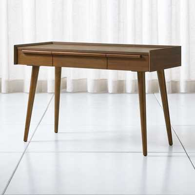 """Tate 48"""" Walnut Desk with Power Outlet - Crate and Barrel"""