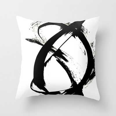 """Brushstroke [7]: A Minimal, Abstract Piece In Black And White Couch Throw Pillow by Alyssa Hamilton Art - Cover (20"""" x 20"""") with pillow insert - Outdoor Pillow - Society6"""