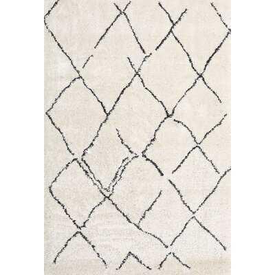 Contemporary White/Black Area Rug - Wayfair