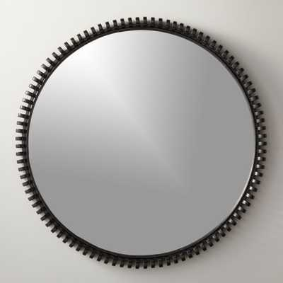 "Monaco Black 33.5"" Round Mirror - CB2"