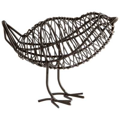 Small Bird On A Wire Sculpture - Onyx Rowe