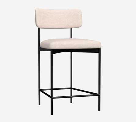 Maison Upholstered Counter Height Bar Stool, Bronze Leg, Performance Chateau Basketweave Light Gray - Pottery Barn