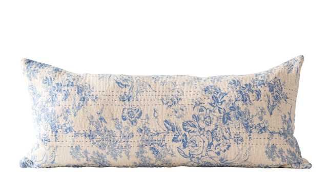 Blue Rectangle Cotton Chambray Pillow with Toile Pattern & Kantha Stitch - Nomad Home