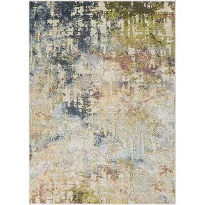 Attalla Abstract Moss Green/Navy/Beige Area Rug - Wayfair