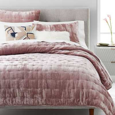 Lush Velvet Tack Stitch Quilt & Standard Sham, Dusty Blush, Full/Queen - West Elm