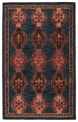 Vibe by Kyoto Handmade Tribal Dark Blue/ Pink Area Rug (9'X12') - Collective Weavers